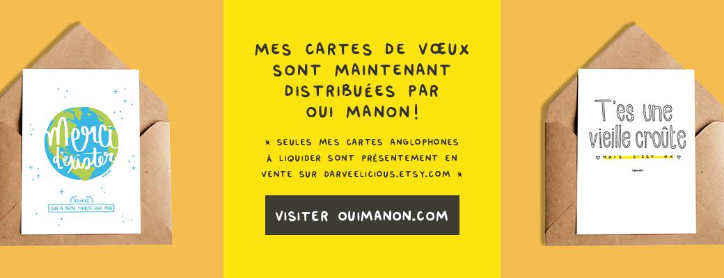 Darvee + OuiManon = Cartes de Souhaits